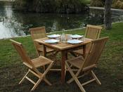 """Salon de jardin """"Antigua"""" en teck 4-6 personnes - Table 90/140 x 90 x 75 cm + 6 chaises"""
