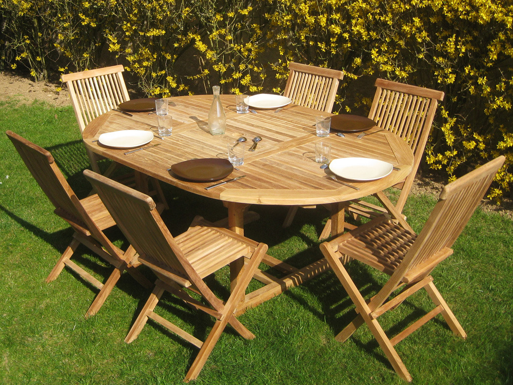 Table teck jardin 6 personnes for Table weldom