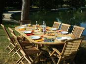 """Salon de jardin """"Trinidad"""" en teck 8 personnes - Table 180/240 x 120 x 75 cm + 6 chaises + 2 fauteuils"""