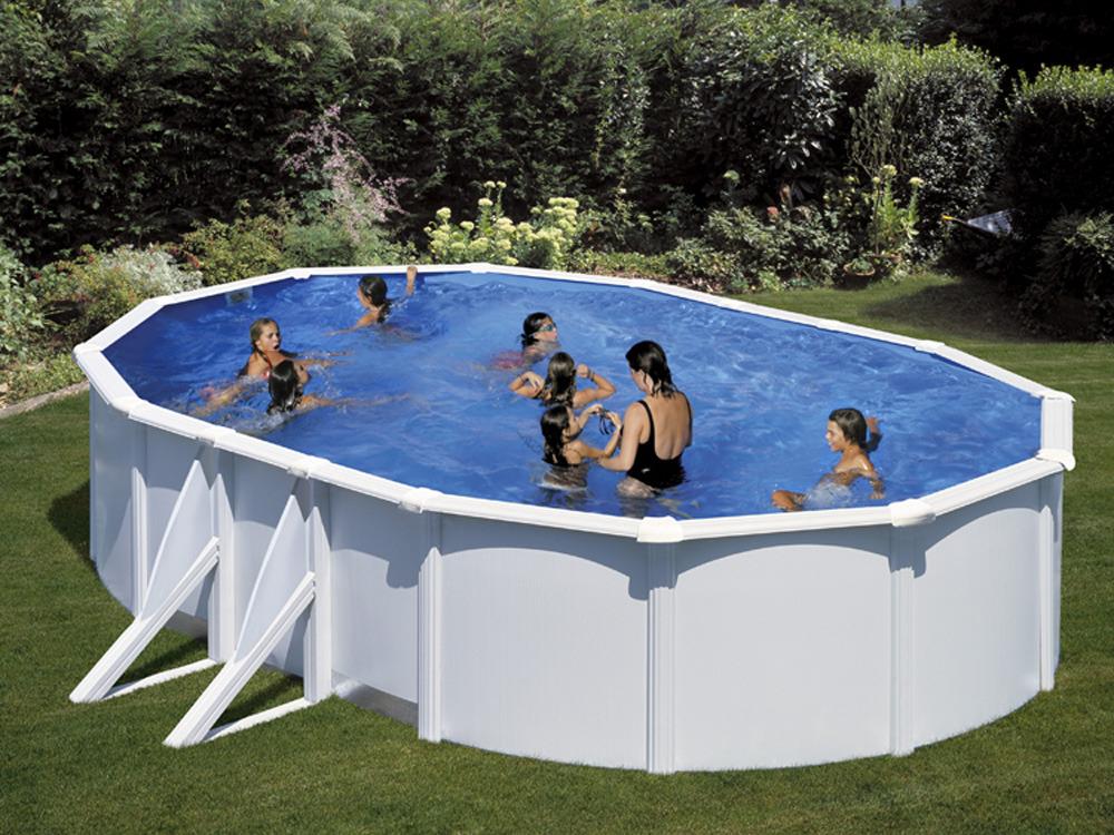 Kit piscine acier ovale atlantis blanche 6 1 x x for Atlantis piscine