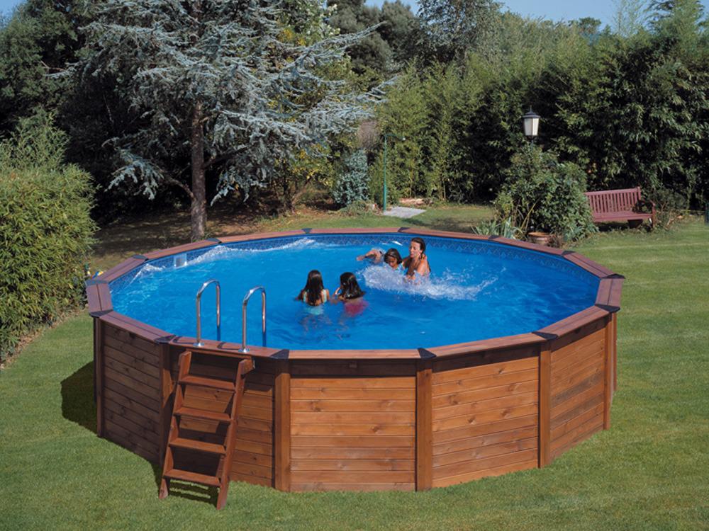 Piscine habillage bois en kit ronde natur pool x for Piscine ronde bois