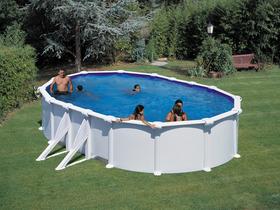 Kit piscine ovale acier blanche