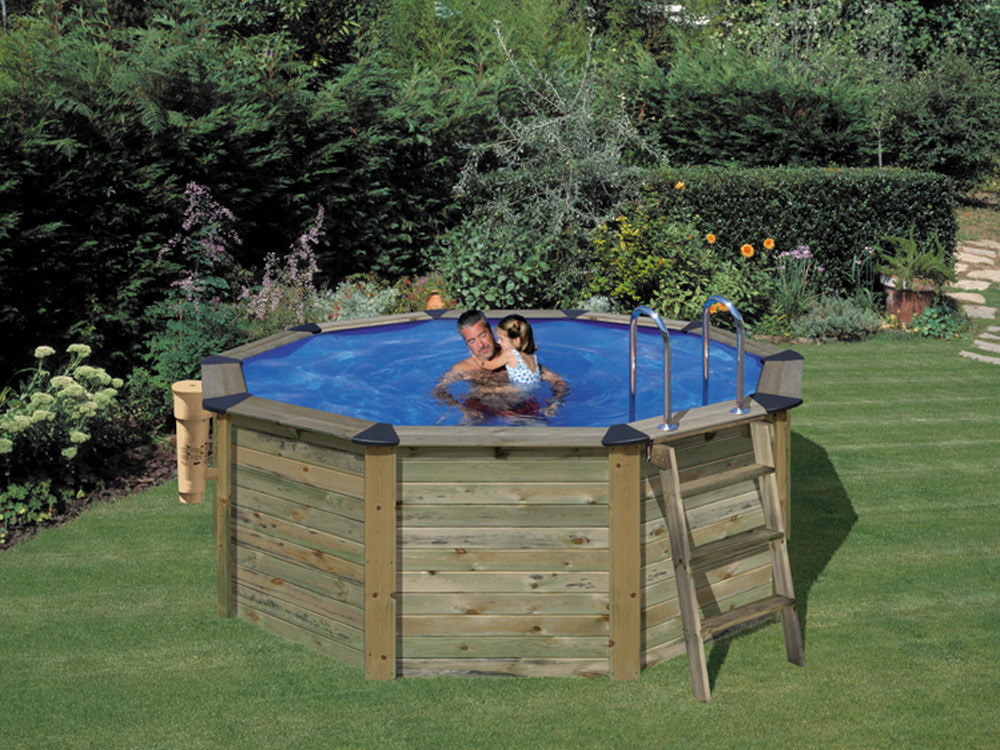 Piscine habillage bois en kit ronde natur pool x for Piscine bois ronde