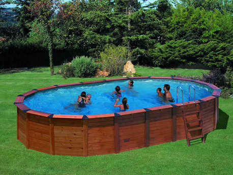 "Piscine habillage bois en kit ovale ""Natur pool"" 7.45 x 4.20 x 1.22 m"