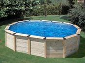 """Kit piscine ovale bois """"Island"""" - 6.35 x 4.20 x 1.20 m"""