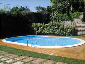 "Kit piscine enterrée ovale ""Madagascar"" - 6.10 x 3.75 x 1.50 m"