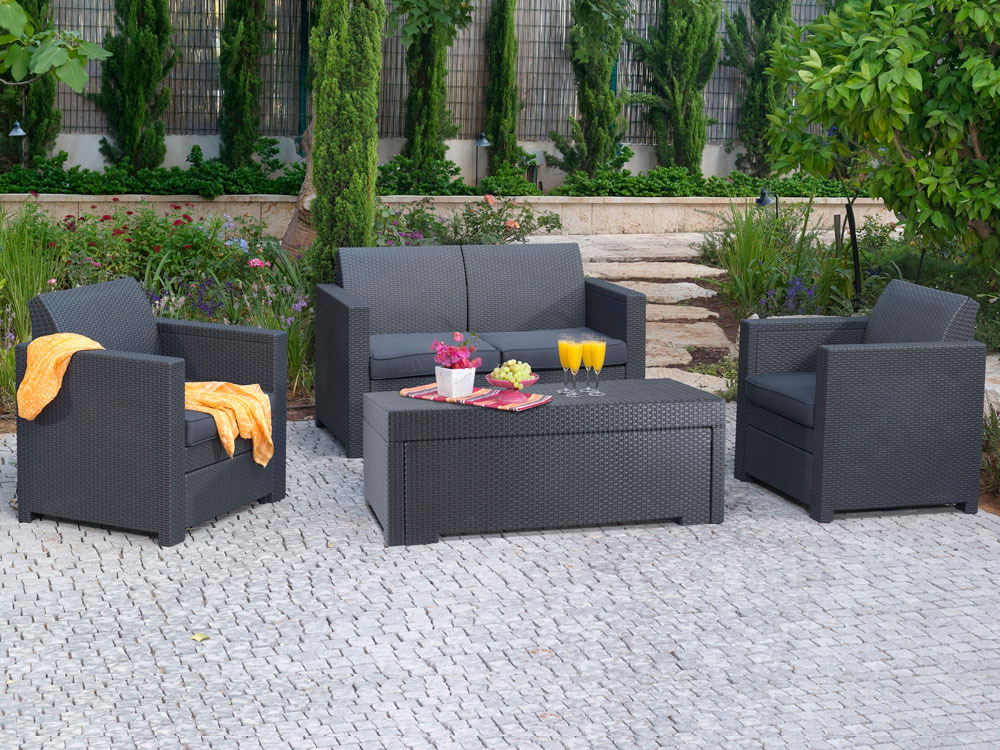 Salon de jardin r sine tress e ibiza buffalo marron for Salon jardin resine gris anthracite