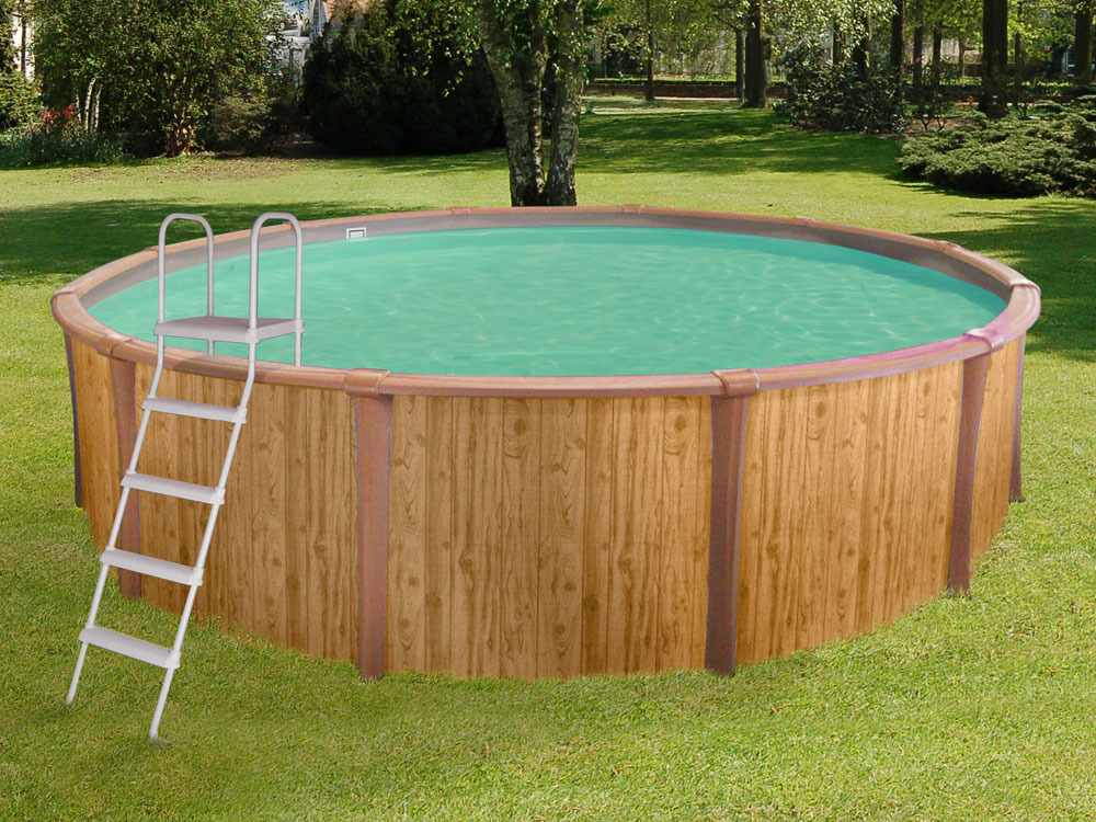Piscine aspect bois acier ronde freedom x m for Piscine aspect bois