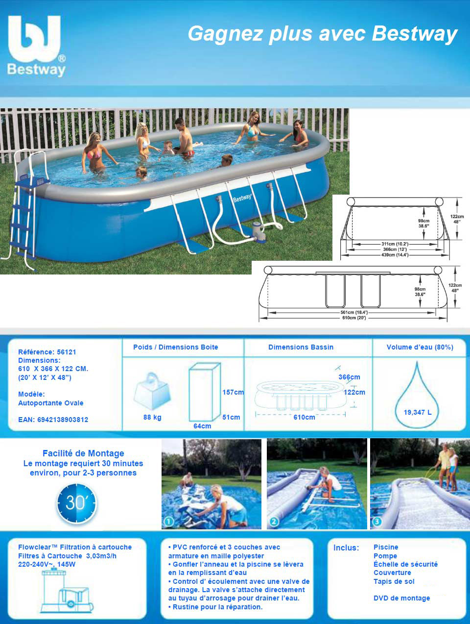 Piscine autoportante steel pro x x m 55243 for Piscine bestway