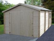 Garage bois - 20 m² - 5.19 x 3.86 x 2.66 m - 34 mm