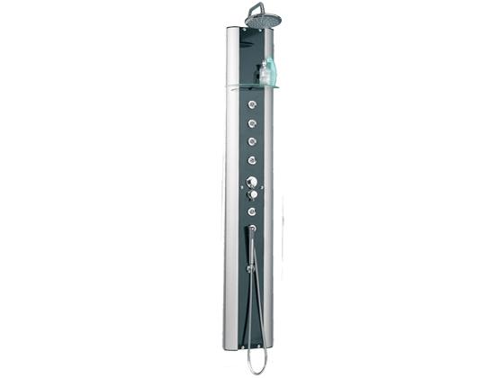 colonne de douche hydromassante aqualigne verre noir 190 x 28cm 17573. Black Bedroom Furniture Sets. Home Design Ideas