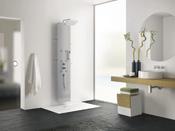 """Colonne de douche hydromassante """"Aquaglass"""" - 203 x 39 cm - Acier"""