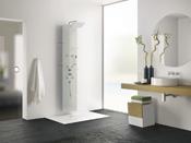 """Colonne de douche hydromassante """"Aquaglass"""" - 203 x 39 cm - Verre dépoli"""