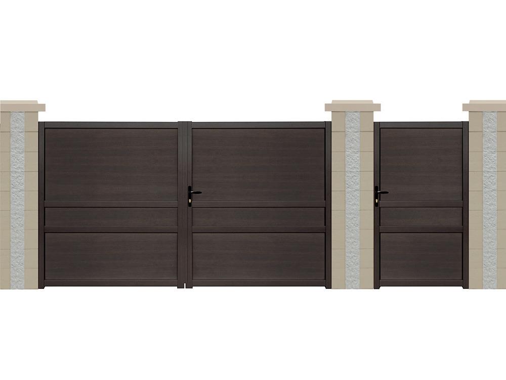 Portail battant sterne aluminium aspect bois 3 m 61727 - Portail aluminium battant ...