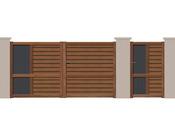"Portail battant ""Pinson"" Aluminium aspect bois - 3 m"