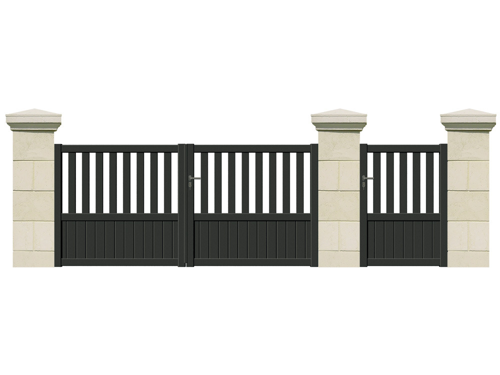 portail battant beaupr aluminium 3 m 61738. Black Bedroom Furniture Sets. Home Design Ideas