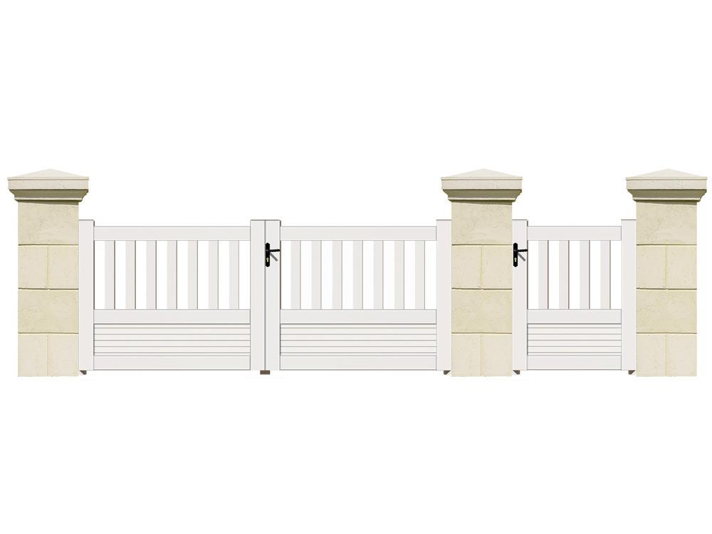 Portail battant bastia pvc 3 m 61745 for Petit portail de jardin en pvc