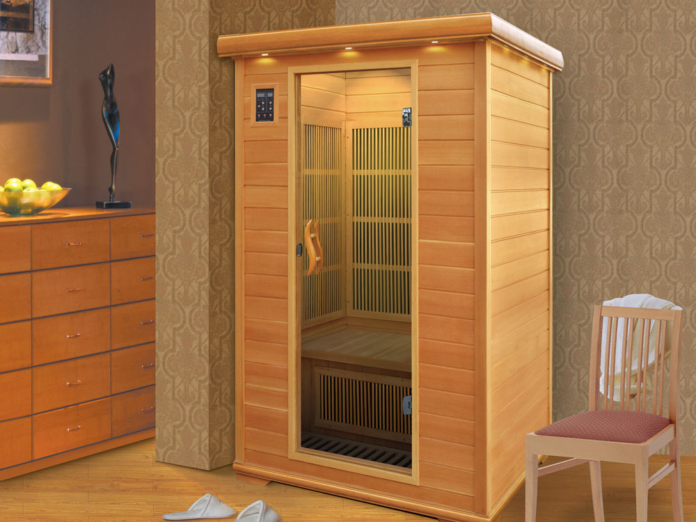cabine de sauna infrarouge 2 personnes l 130 x l 105 x h 190 cm 46666 46668. Black Bedroom Furniture Sets. Home Design Ideas