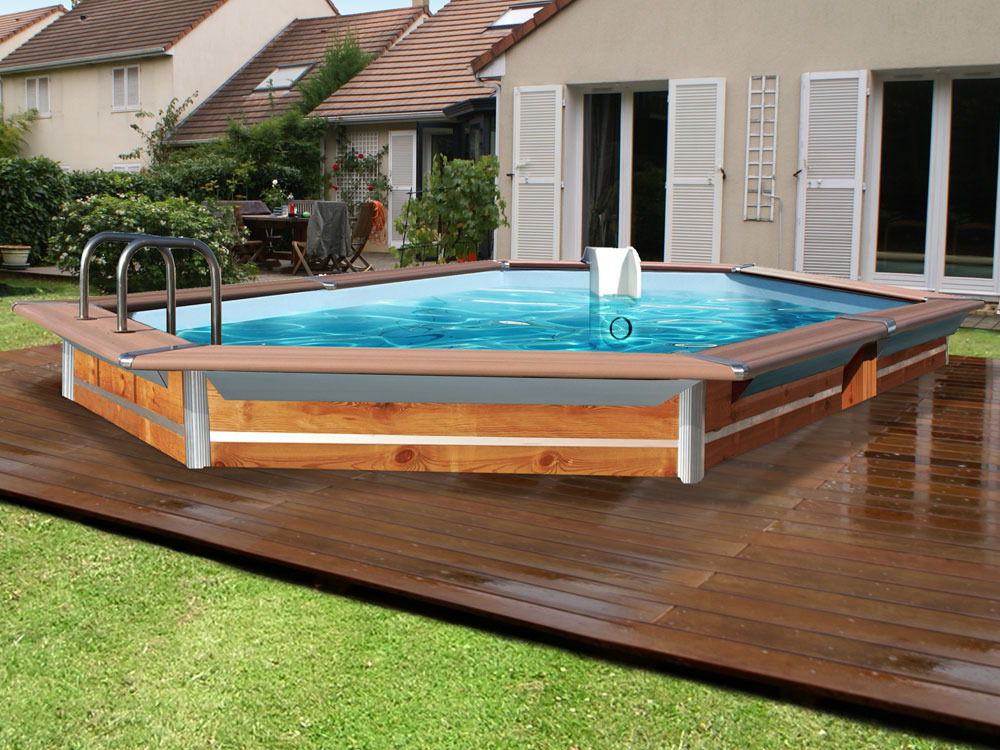 Piscine bois h xagonale allong e evolux deluxe gold 5 for Liner piscine hexagonale bois