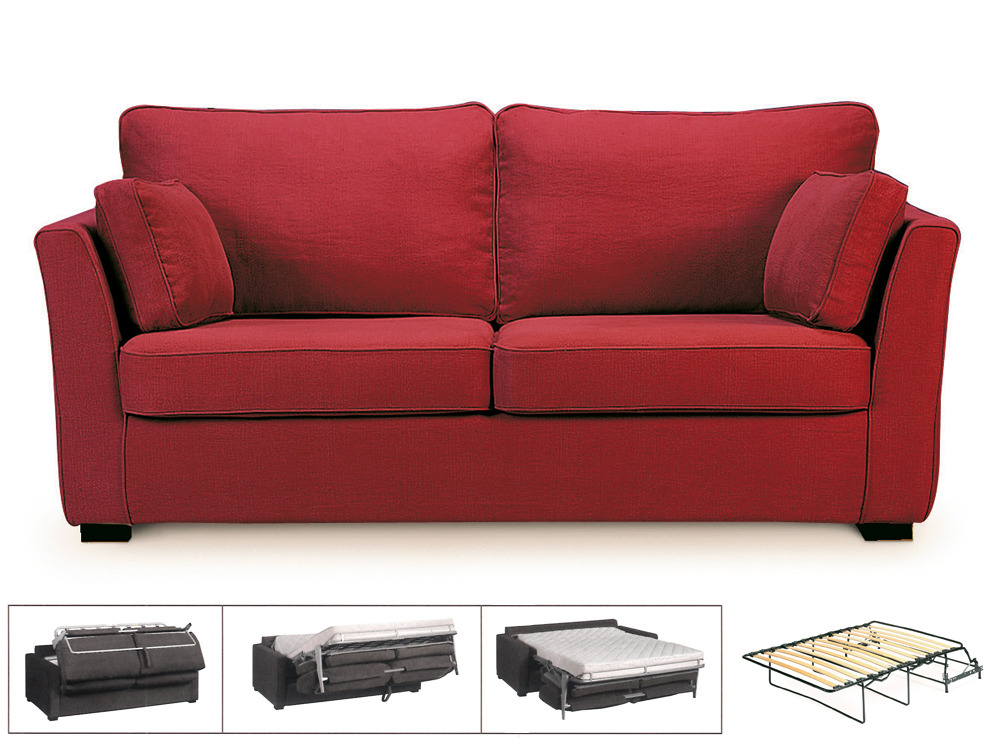 Canap convertible tissu lilia 3 places cana rouge 24495 for Canape habitat convertible