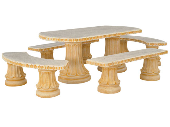Salon jardin romantica 1 table 2 bancs 2 arrondis for Table jardin en pierre