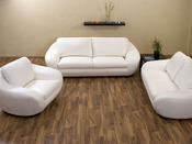 """Canapé cuir """"Boo"""" - 3 places + 2 places + 1 fauteuil - Blanc"""