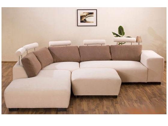 Canapé d'angle tissu Wik - 9/10 places - Marron