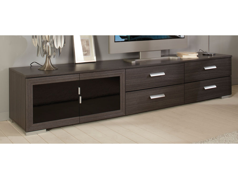 Meuble tv knok 218 x 41 7 x 43 cm ch ne cendr noir for Meubles bas de salon