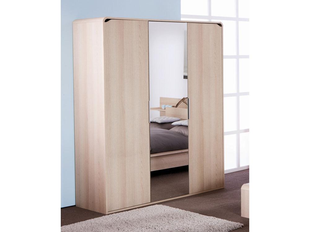 Armoire avec porte miroir Boreal chêne blond - 155 x 55 x 195.5 cm