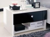 "Chevet ""Strass"" blanc/noir - 55.2 x 41.9 x 34.7 cm - 1 tiroir"
