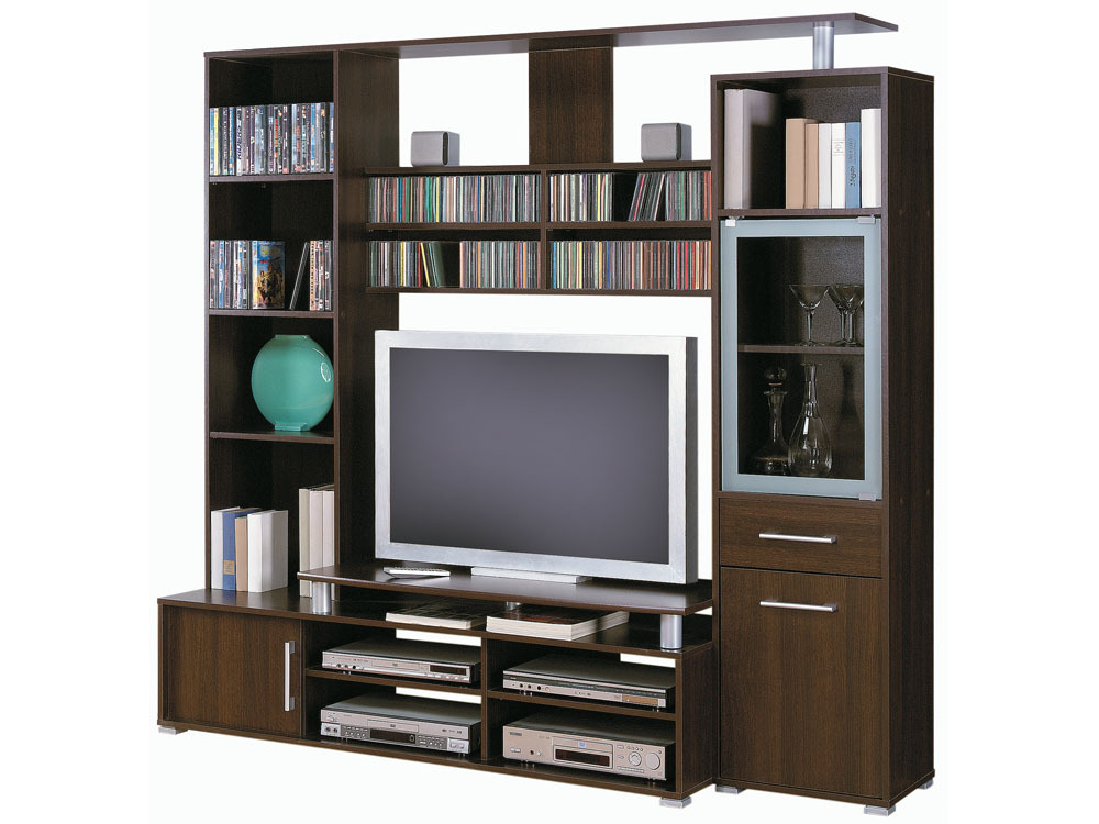Meuble tv atlantis 194 6 x 53 7 x 182 1 cm mdf choco for Meuble tv avec etagere