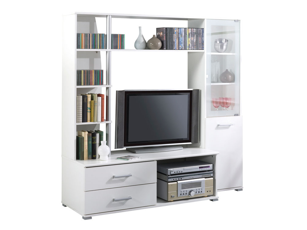Meuble tv salt mdf blanc perle 2 tiroirs 5 for Meuble tv etagere