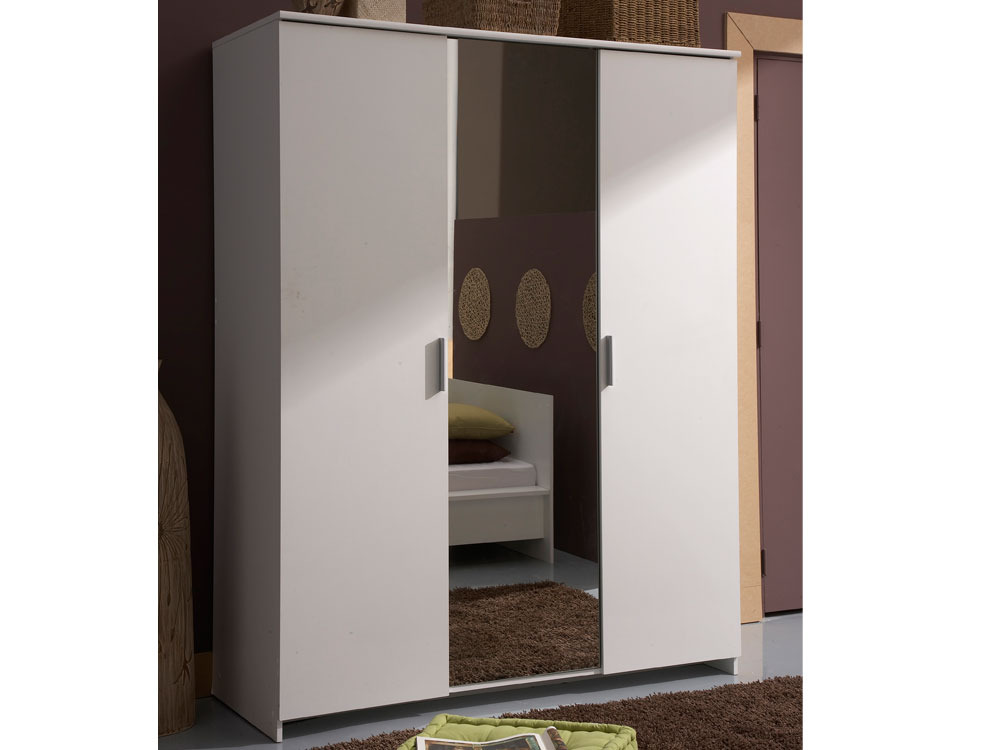 Armoire esther 3 portes 1 miroir 39892 for Miroir porte