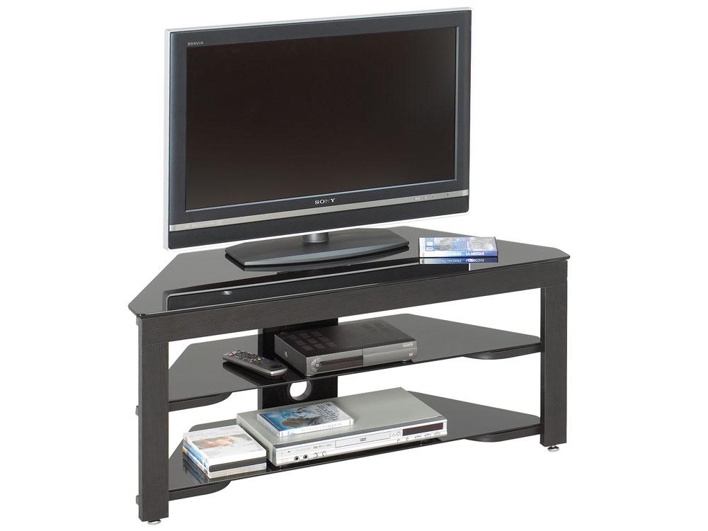 Meuble tv alicia en mdf blanc laqu 68056 - Meuble tv verre trempe noir ...
