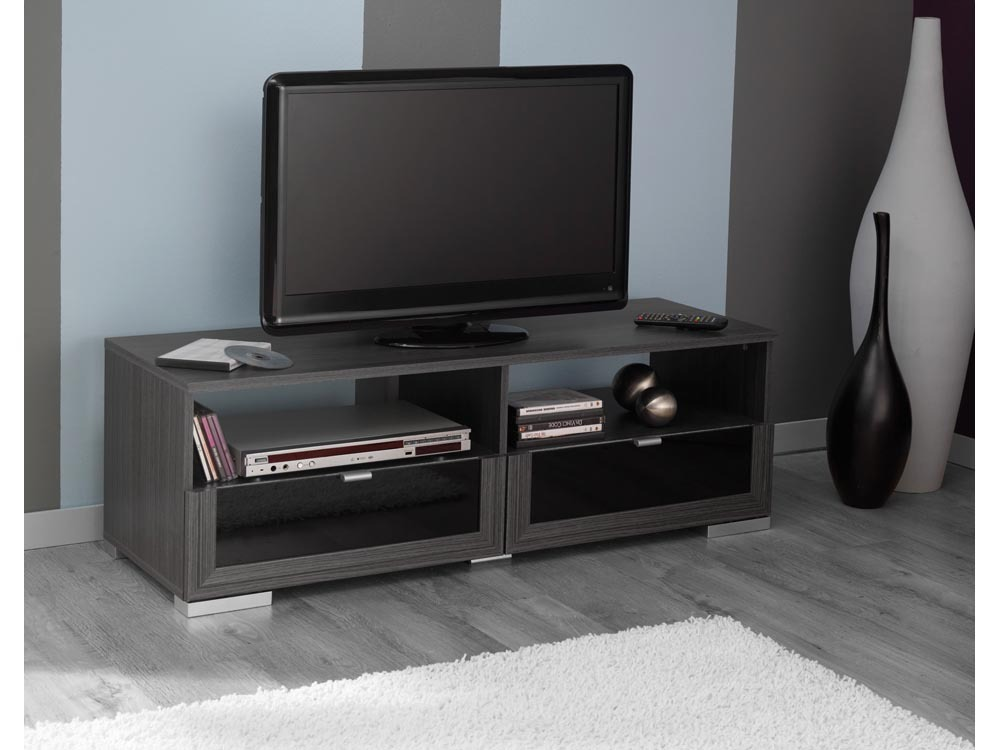 Banc tv knok en ch ne 2 tiroirs et 2 niches 57518 for Banc tv chene
