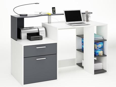 """Bureau """"Oracle"""" - MDF blanc/gris - 1 tiroir et 1 porte"""
