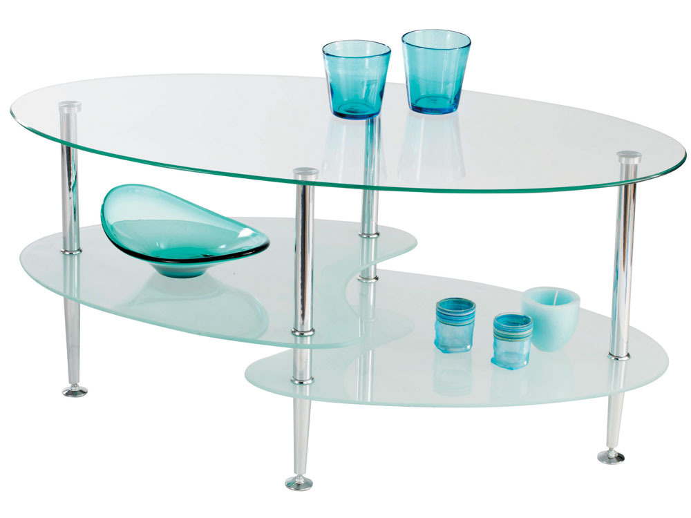 Table basse en verre 3 plateaux joko 95 x l 50 x h 44 cm 39911 for Grande table de salon en verre