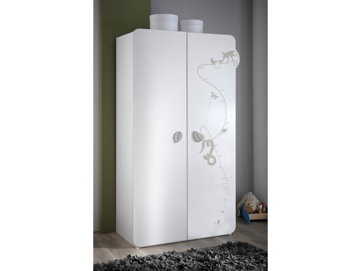 Armoire Jungle - 106 x 57 x 185 cm - Blanc