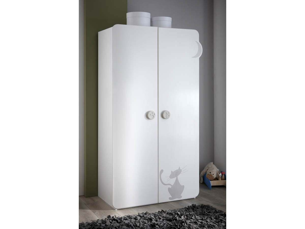 Armoire Kitty - 106 x 57 x 185 cm - Blanc