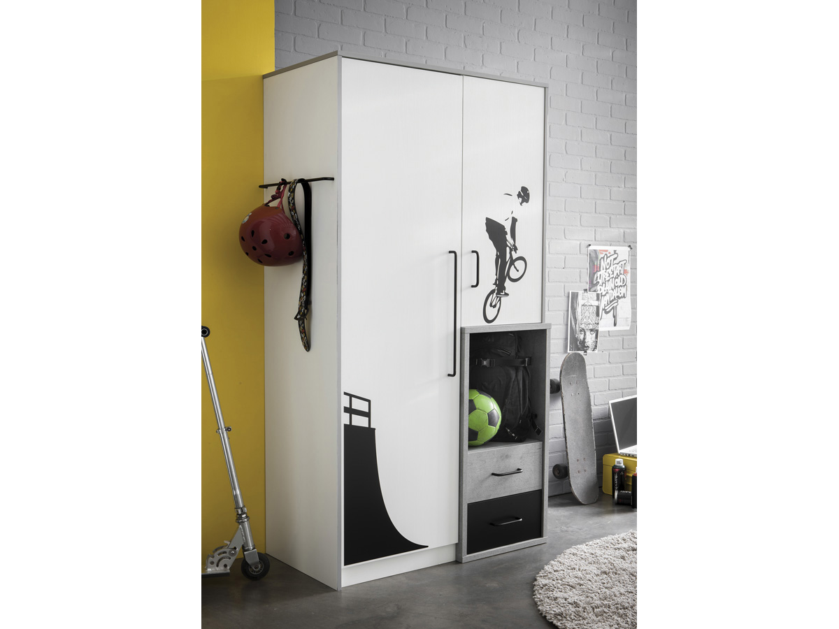 Armoire Street - 2 portes - 85,1 x 51,7 x 180,7 cm - Coloris blanc