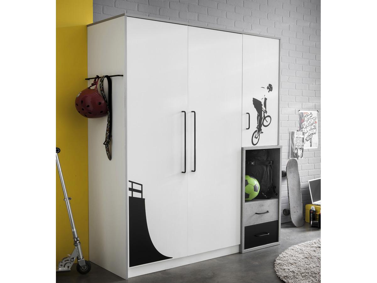 Armoire Street - 3 portes - 135,1 x 51,7 x 180,7 cm - Coloris blanc