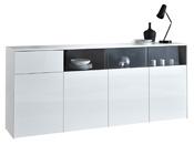 """Buffet enfilade """"Malia"""" - 202,9 x 41.6 x 86,5 cm - Blanc brillant"""
