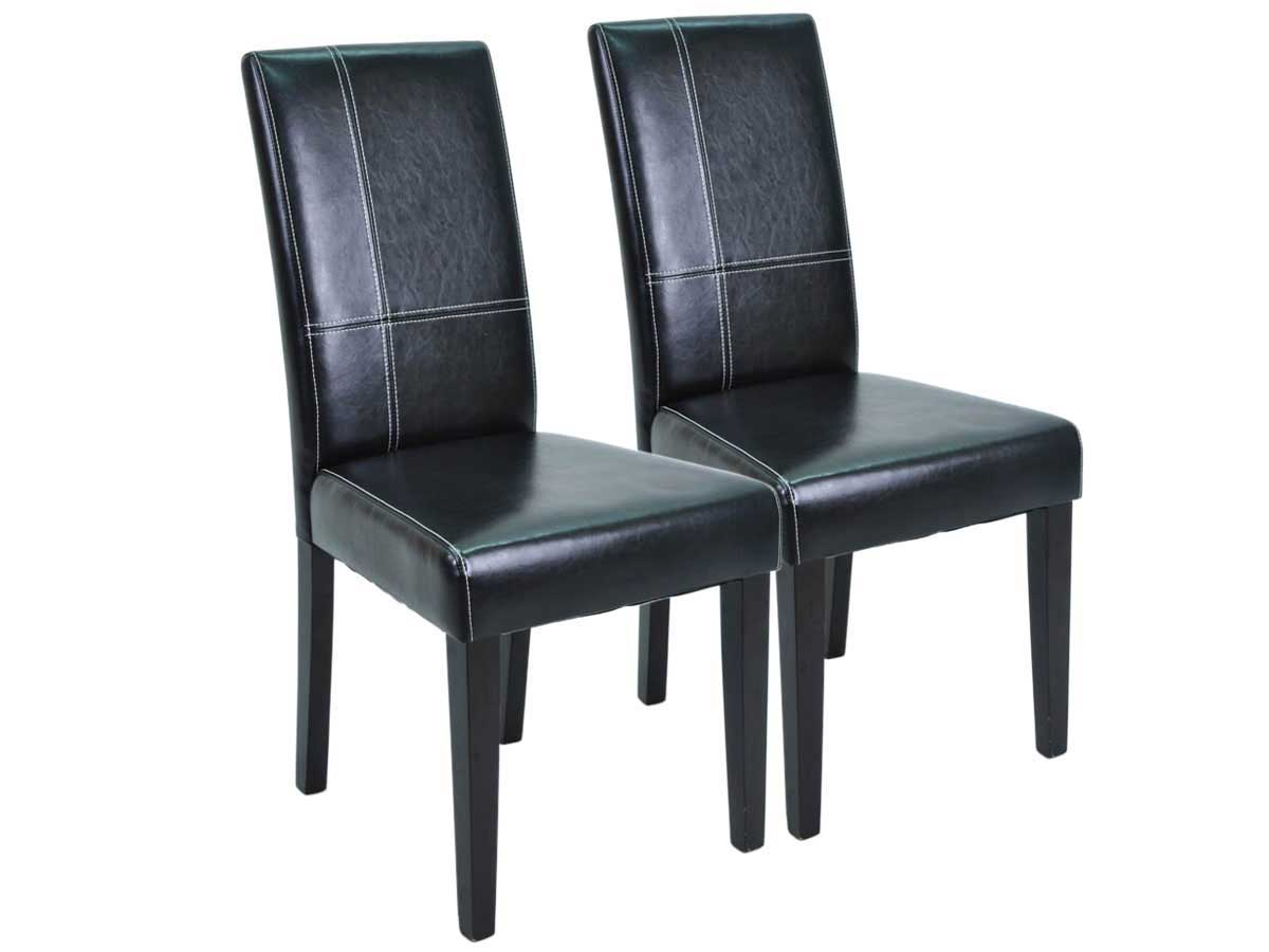 Lot de 2 chaises guevara noir brillant 68742 for Chaise sejour noir