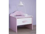 """Chevet """"Papillon"""" - 45.2 x 36 x 43.1 cm - Rose orchidée/blanc perle"""