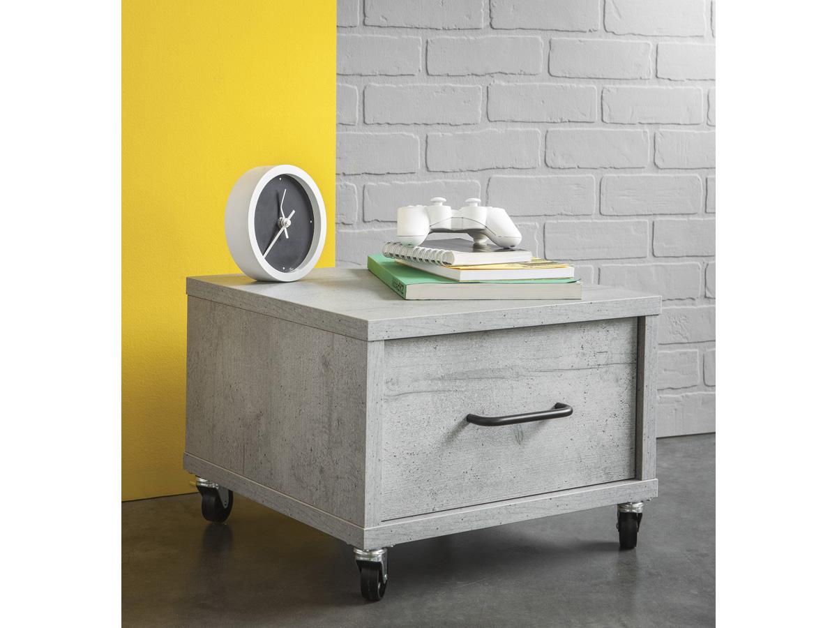 Chevet Street - 1 tiroir -Larg 41,5 x Prof 39,3 x Haut 29,8 cm - Coloris béton