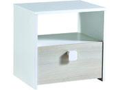 """Chevet 1 tiroir """"Game"""" - 33 x 43 x 42 cm - Acacia/Blanc perle"""