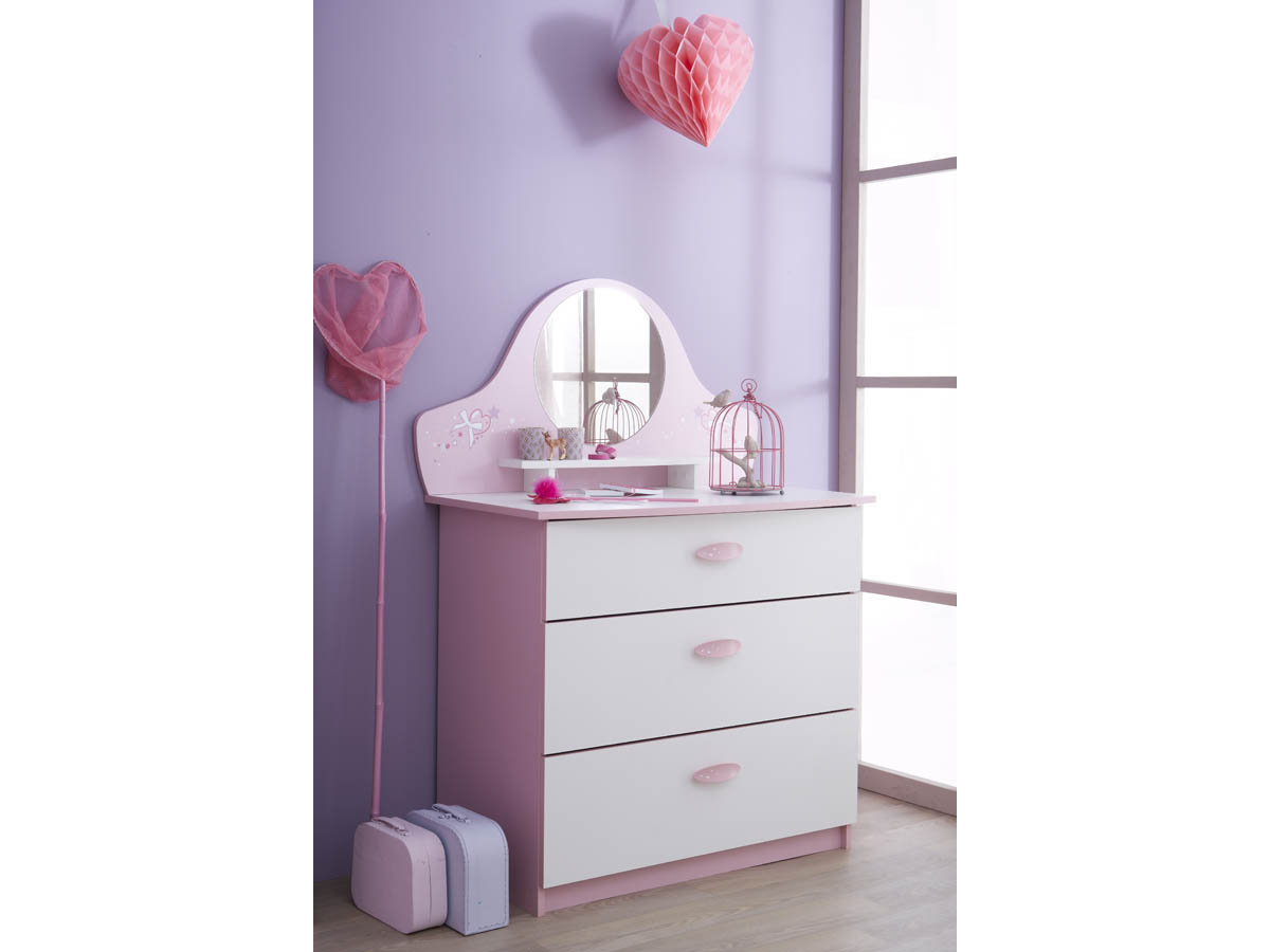 Commode Papillon - 84.7 x 50.1 x 97.2 cm - Rose orchidée/blanc perle