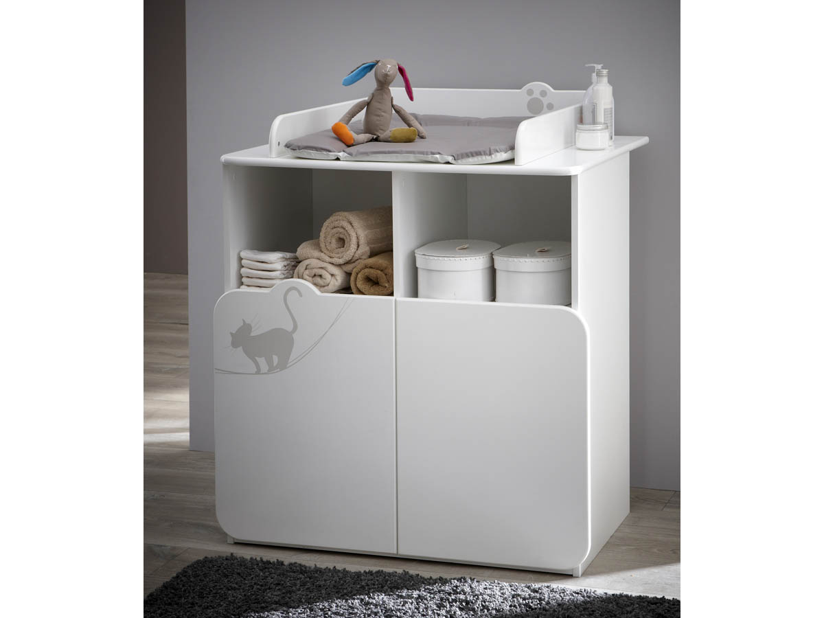 Commode - Table à langer Kitty - 87 x 73 x 101 cm - Blanc