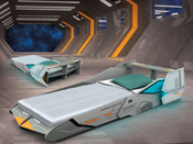 "Lit extensible ""Starship"" - 235,1 x 119,3 x 52,5 cm - Gris"