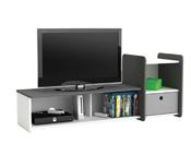 "Meuble TV ""Foot"" - 1 tiroir - 125 x 34.6 x 50 cm - Blanc perle"